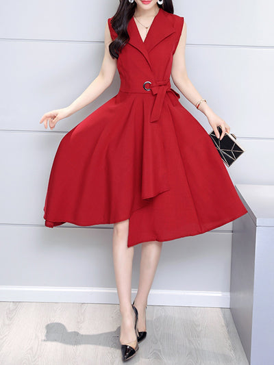 Solid Elegant Sleeveless Plus Size Skater Dresses