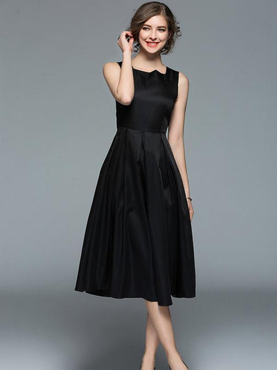 Black Waisted Sleeveless Midi Dress