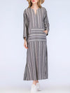 Plus Size V-Neck Dress Shift Daily Linen Pockets Maxi Dress