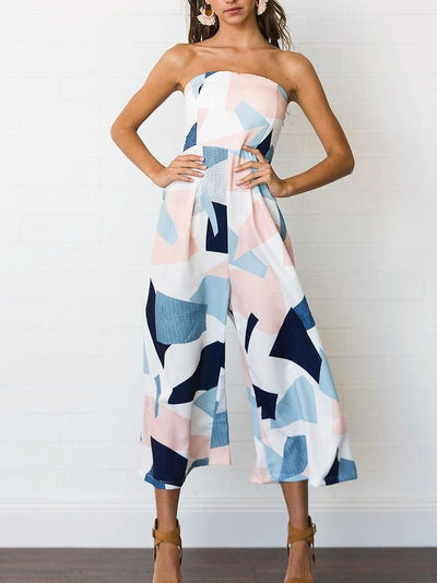 Sexy Chiffon Geometric Printed Sleeveless Jumpsuit