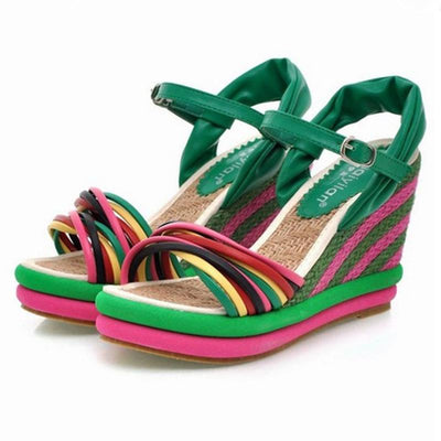 Rainbow Ankle Strap Woven Wedge Heel Sandals