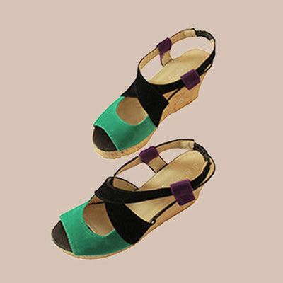 Plus Size Wedge Heel Shoes Women Elastic Band Sandals