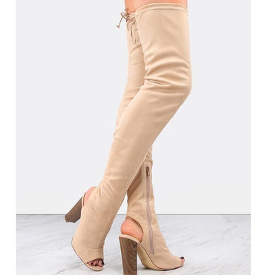 Heel Cut Out Suede Thigh Boots NUDE - Anabella's