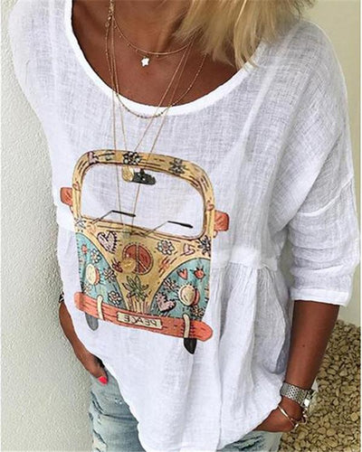 Printed Women Casual Crew Neck Tops