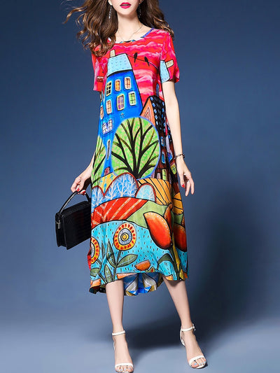 Short Sleeve A-line Beach Chiffon Midi Dress