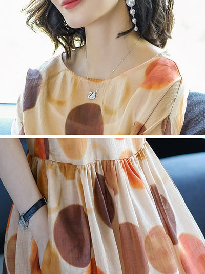 Multicolor A-line Printed Casual Short Sleeve Midi Dress