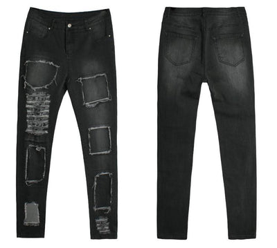 High Street Faded Denim Black Ripped Skinny Stretch Jeans