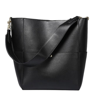 High Quality Split Leather  Bucket Tote Bag