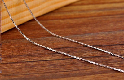 Italian Box Chain Necklace Pure 925 Solid Sterling Silver