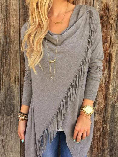 Black Tassel Decorated Long Sleeve T Shirt