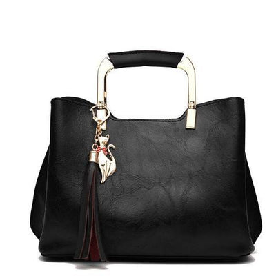 Retro Vintage Leather Tassel Handbag For Woman
