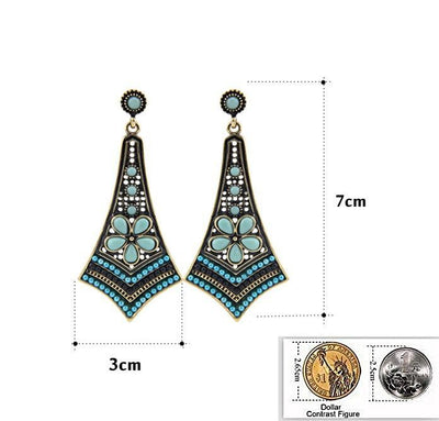 Woman Multicolor Resins and Beads Flower Long Pendants Statement Drop Earrings