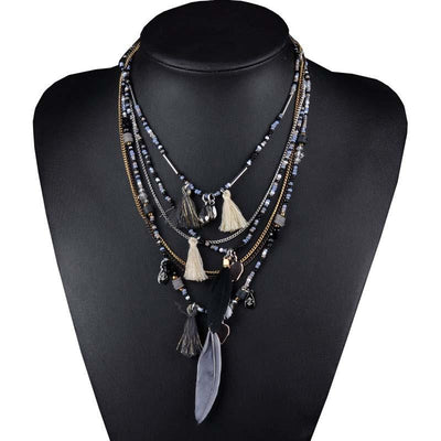 Multi-Color Feather Necklaces & Pendants Beads Chain Statement