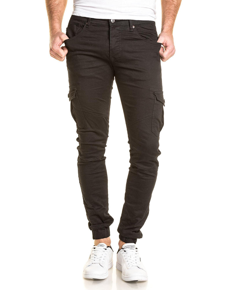 Jogger pant homme noir multipoches cargo