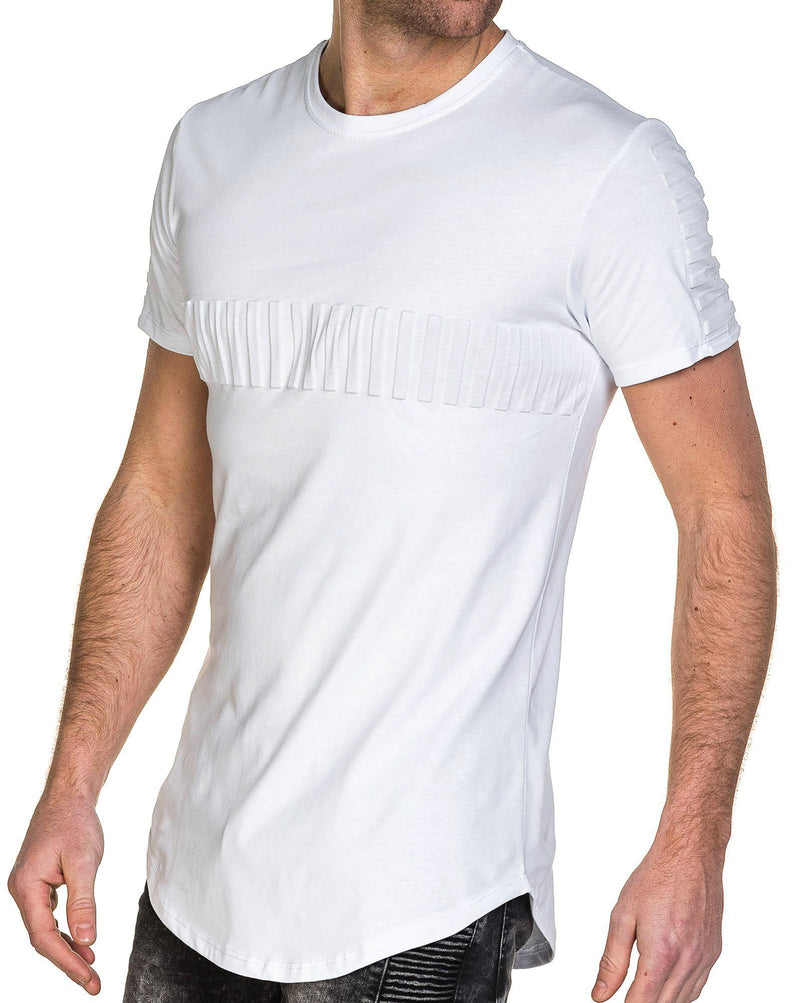 Tee-shirt homme blanc bande relief oversize