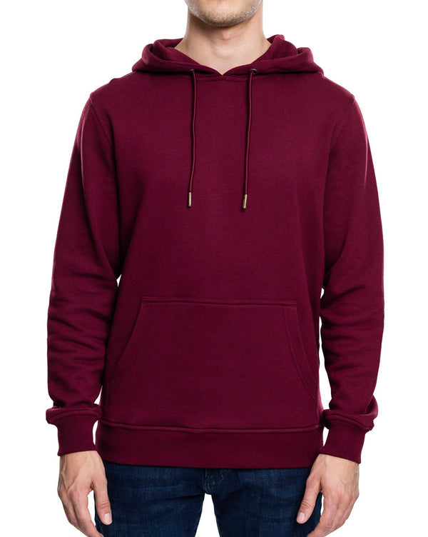 Sweat homme bordeaux uni à capuche