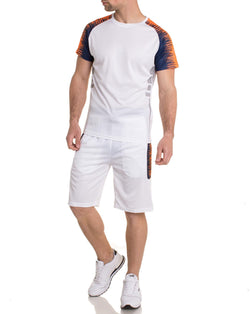 Ensemble Team maillot et short de sport blanc et orange fluo