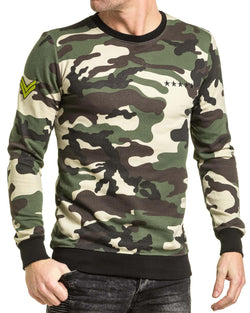 Sweat homme camouflage vert avec patchs