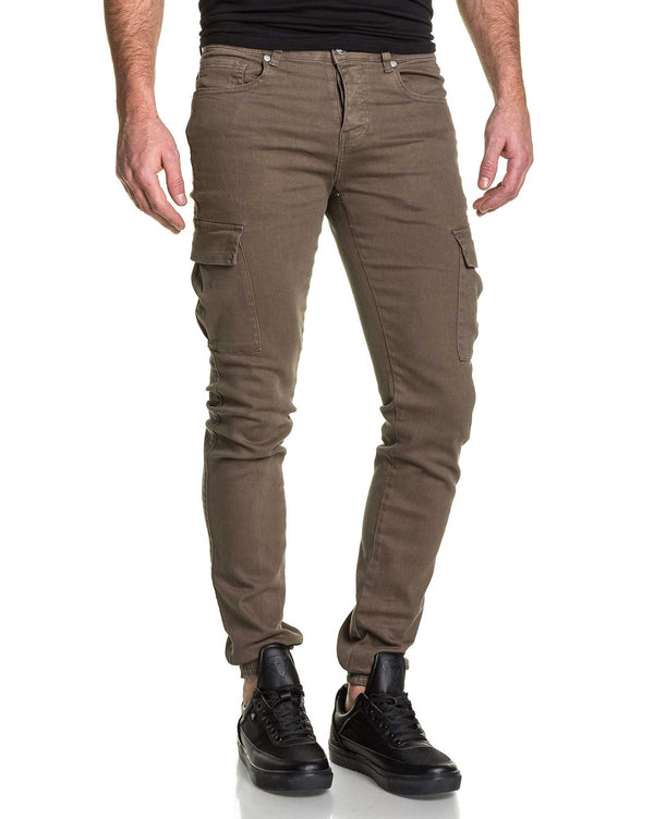 Jogger pant cargo homme sable skinny