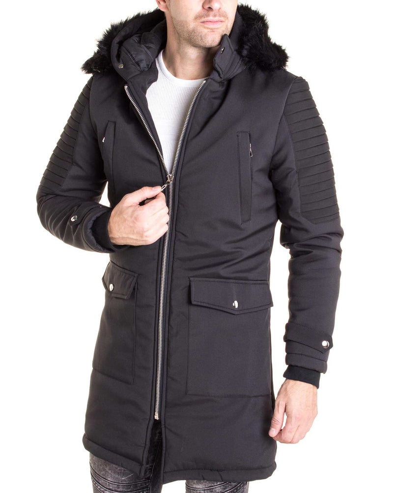 Long manteau noir col fourrure