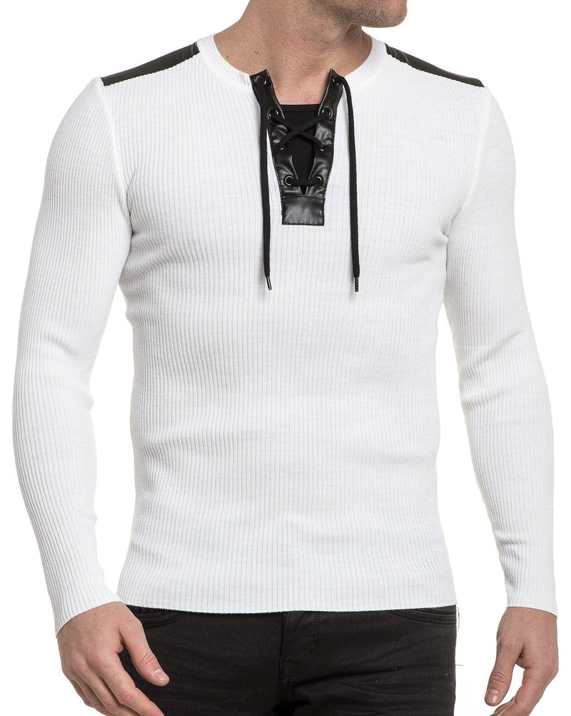 Pull blanc manches longues empiècements effet cuir