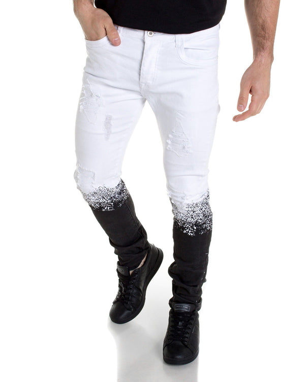 Jeans blanc tie and dye