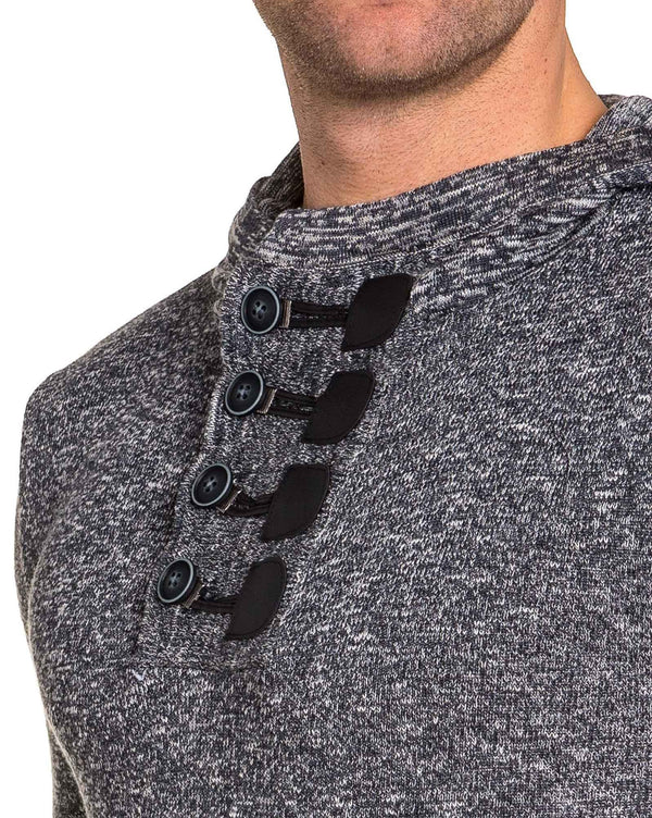 Pullover fin homme gris col boutons et capuche