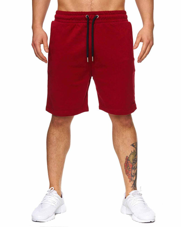 Short bermuda uni jogging bordeaux rouge homme