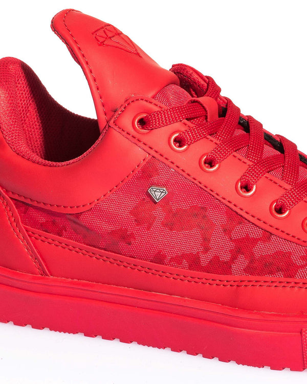 Sneaker homme rouge camouflage languette haute