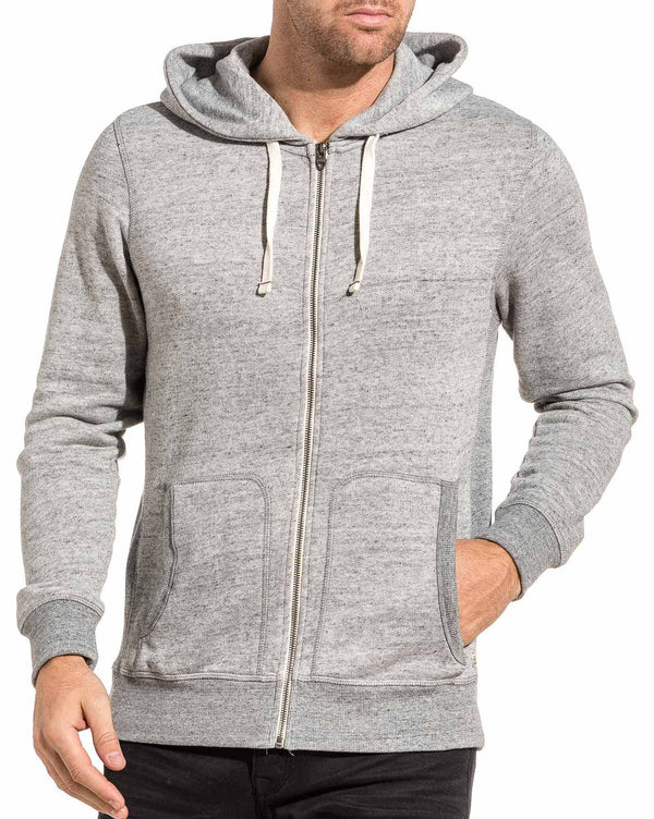 Sweat zippé homme basic gris clair chiné capuche