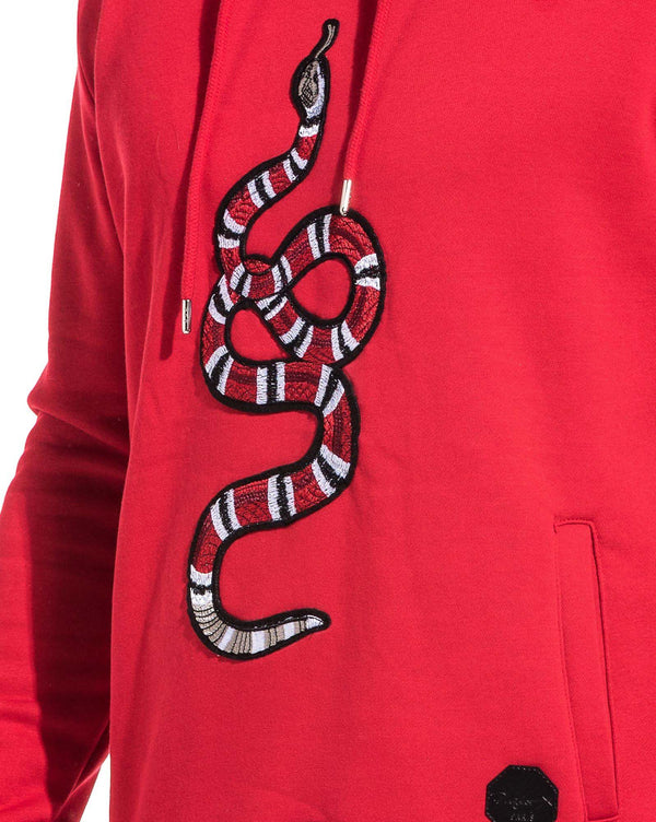 Sweat homme rouge à capuche brodé serpent
