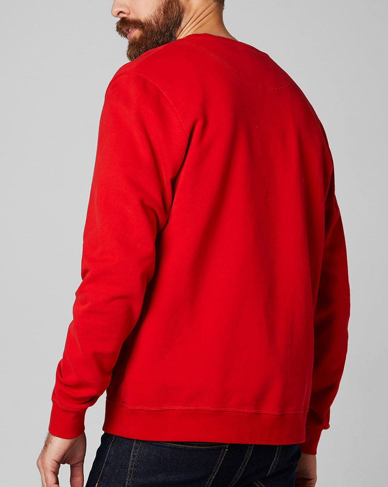 Pull rouge impression marque col rond 34000