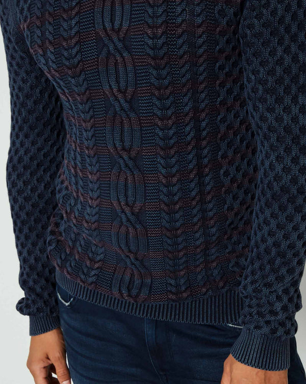 Pull tricot KWR222 navy col rond maille graphique
