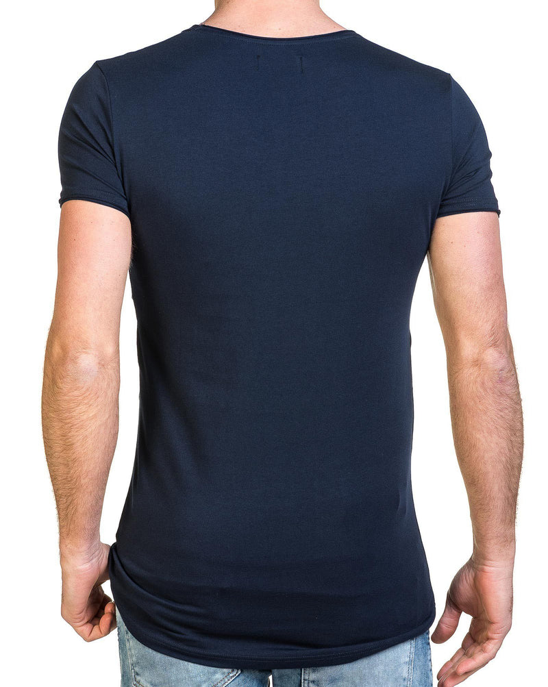 T-shirt homme navy double poches poitrine trouées