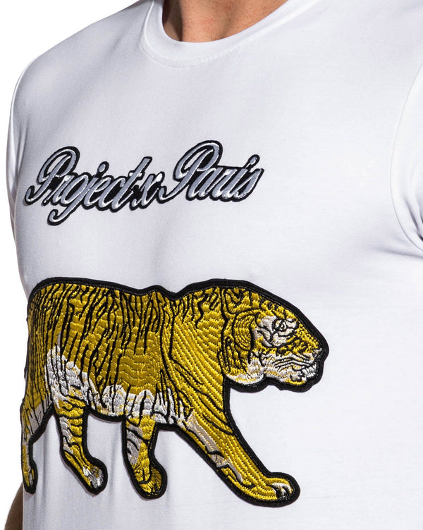 Tee shirt patch Tiger homme blanc