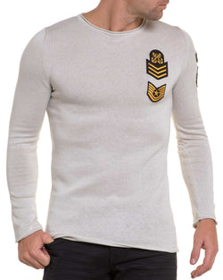 Pull homme fin beige écusson army brodé