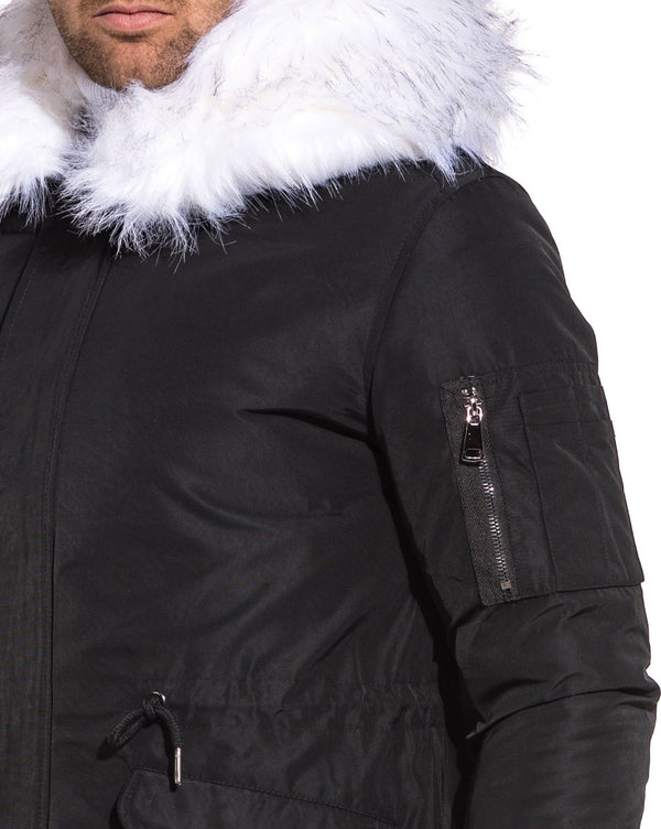 Parka fashion noir capuche fourrure large blanche