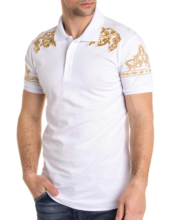 Polo homme blanc avec broderie or esprit baroque fashion