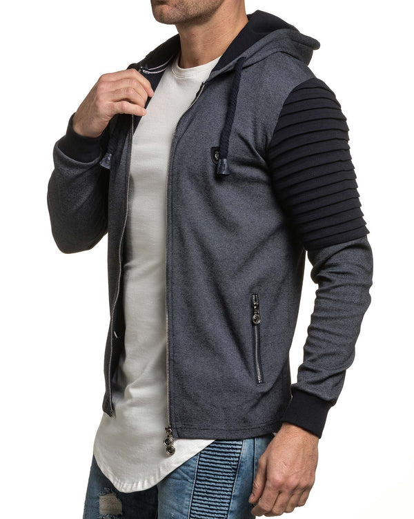 Gilet sweat capuche homme bleu navy fashion