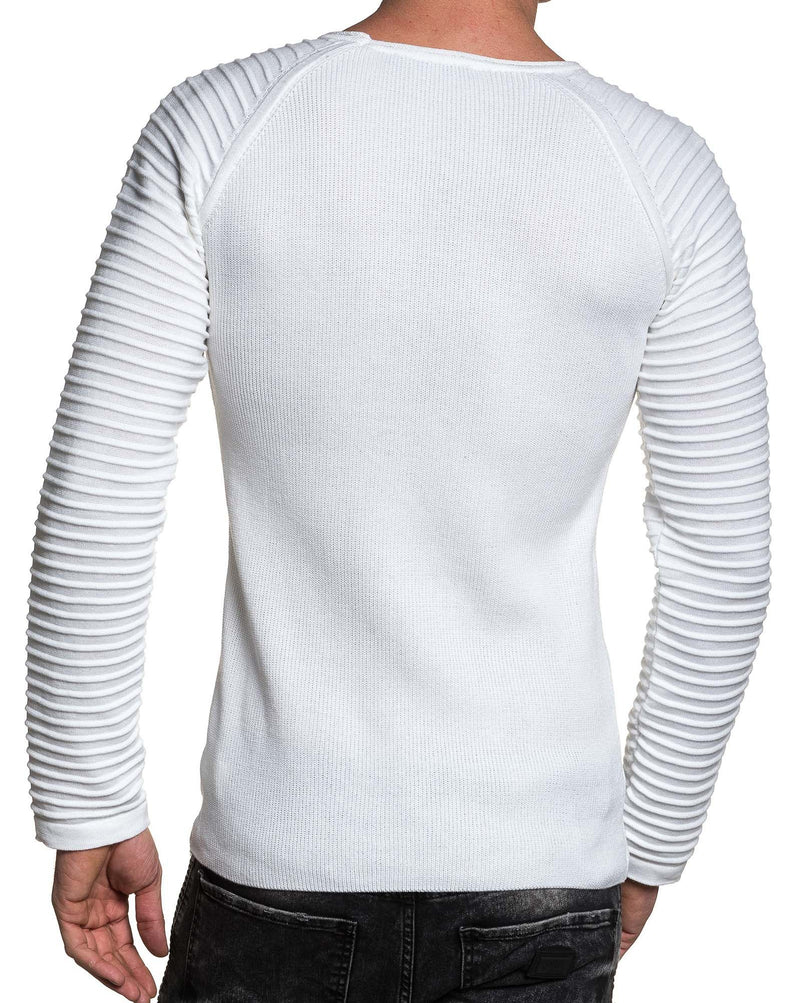Pull homme fine maille relief blanc