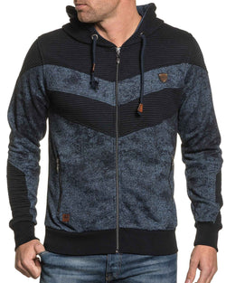 Sweat homme zippé à capuche navy chiné