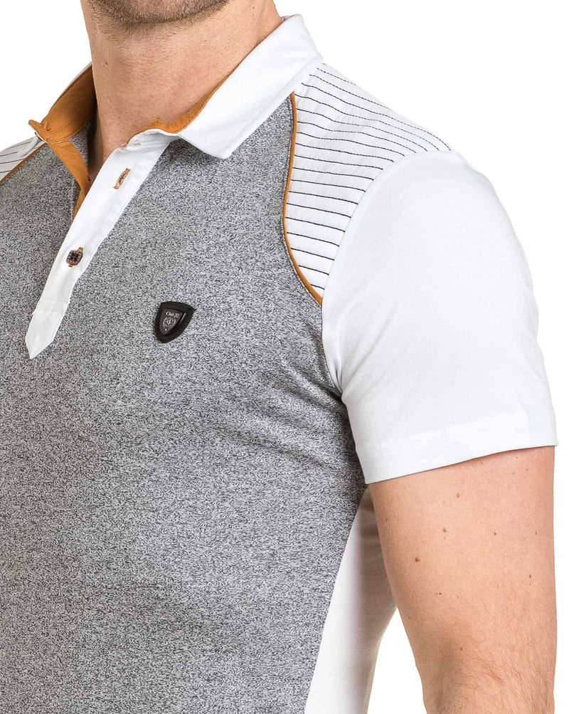 Polo homme blanc et chiné coutures