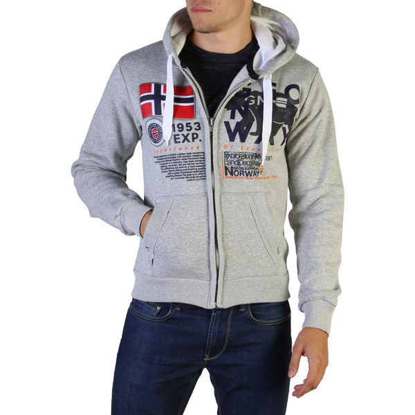 Sweat gris à capuche et zip Geographical Norway - Gasado_man
