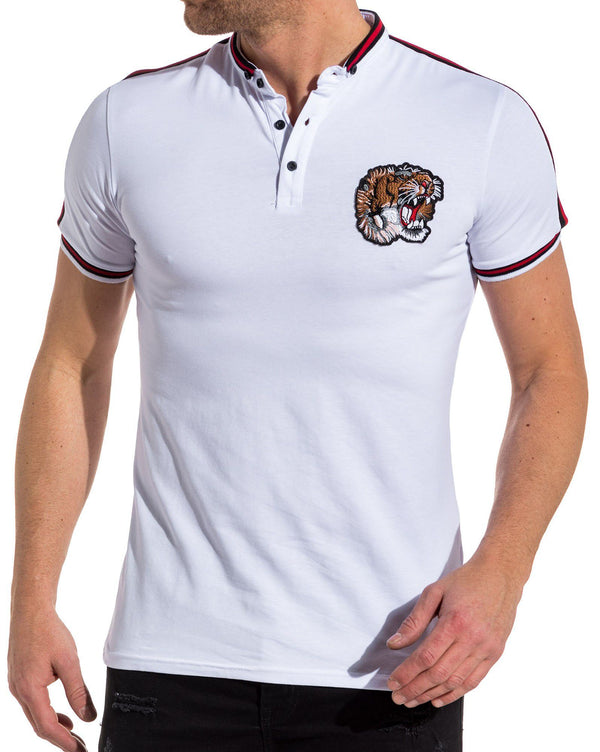 Polo homme blanc col mao patch tiger et bande