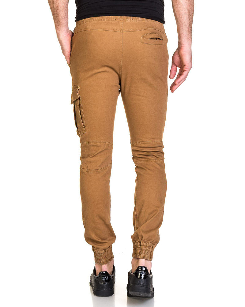 Jogger pant marron homme zippé multipoches