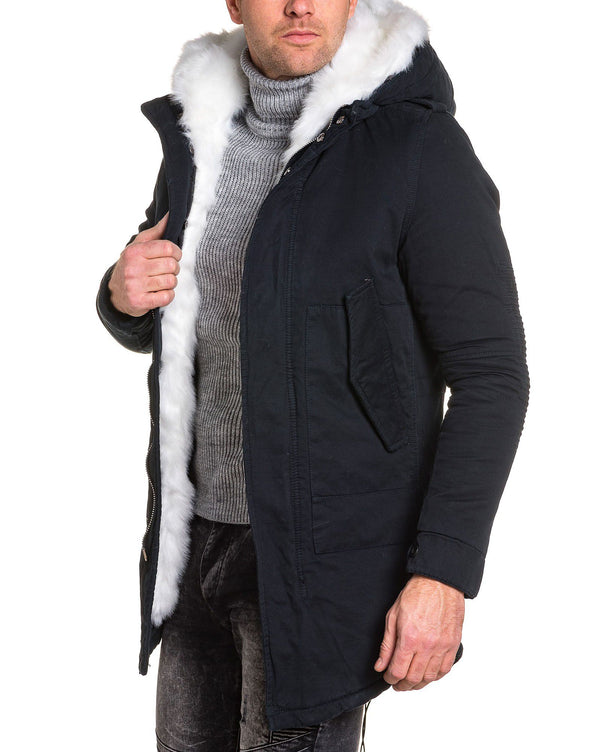 Parka homme navy fashion capuche fourrure