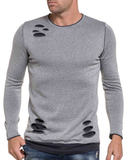Pull fashion troué gris oversize avec empiècement gris anthracite