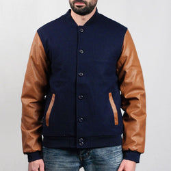 Wool Leather Button Jacket