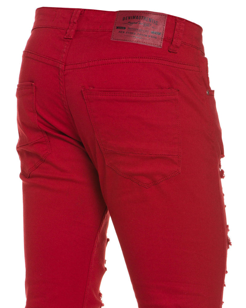 Jean homme rouge ultra skinny troué