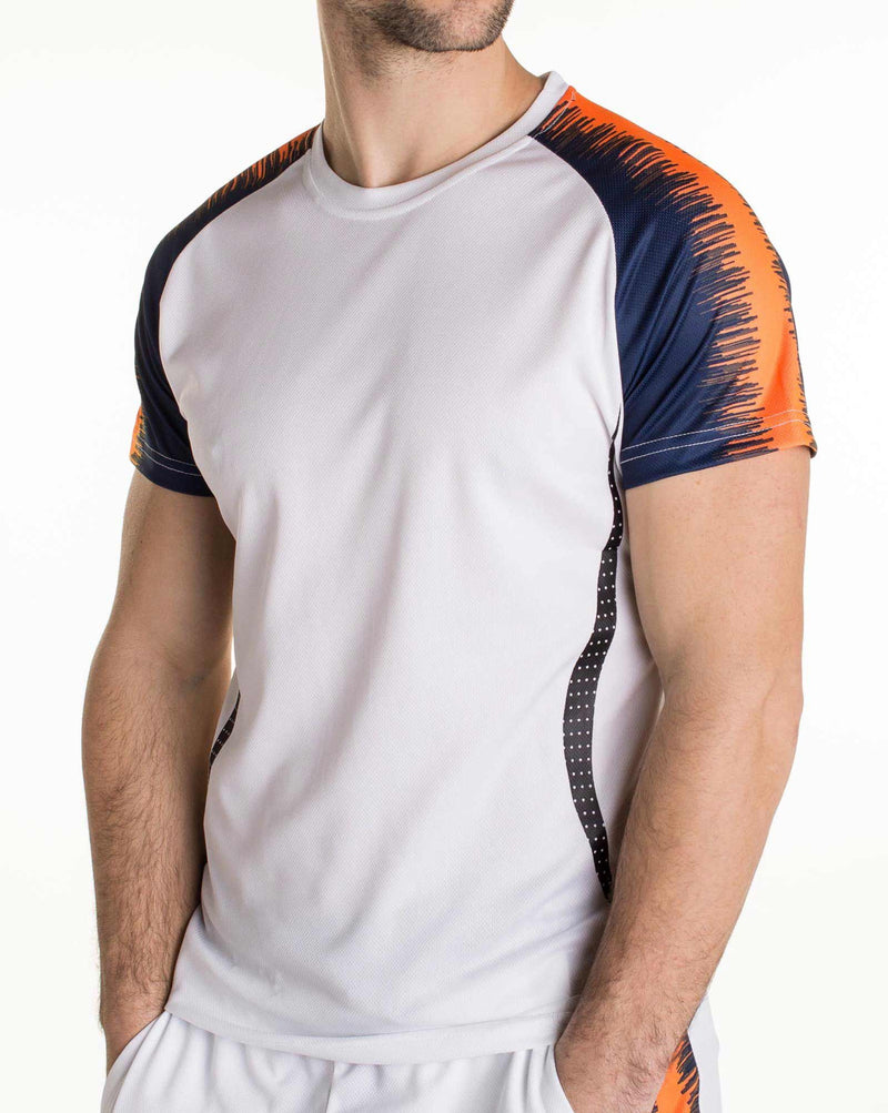 Ensemble tshirt et bermuda de sport blanc orange